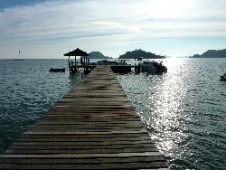 the Leelawadee pier in front of the Makathanee Resort on Koh Mak before the we double sized it